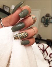 olive and gold nail art design