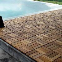 Wood Teak Flooring Interlocking Deck Tiles Pool Patio Hot ...