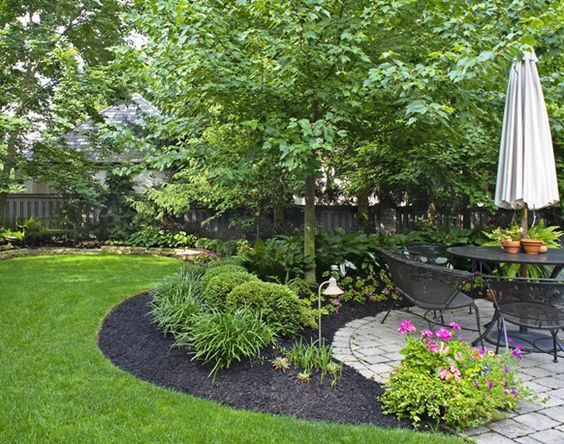 beautiful green lawn black mulch