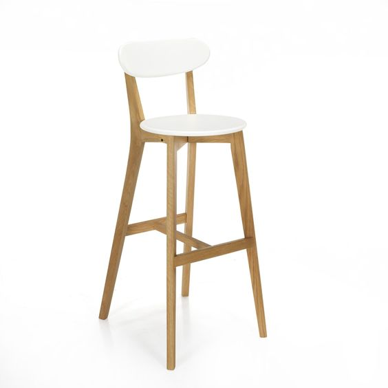Chaise De Bar Design Scandinave Coloris Blanc Siwa