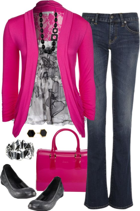 """""""Pink & Gray"""" by kp802 ❤ liked on Polyvore:"""