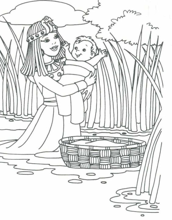 Baby moses, Bible coloring pages and Coloring pages on