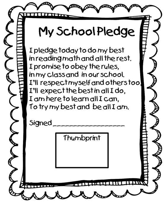First Grade Wow: beginning of year school pledge. Nice