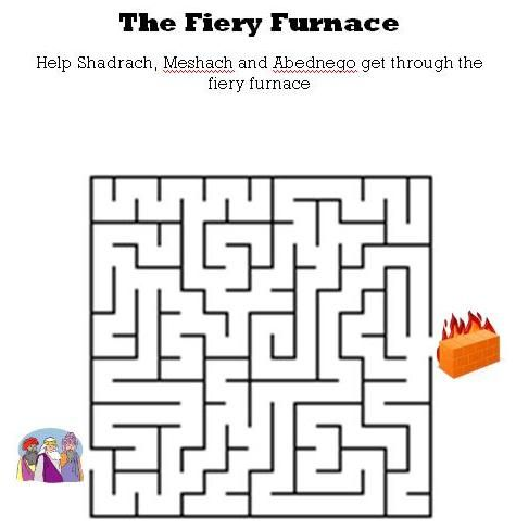 www.kidsbibleworksheets.com-The fiery furnace maze for