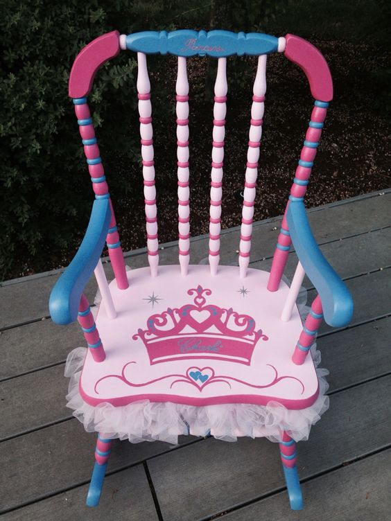 Custom ordered Princess tutu rocking chair for little girl