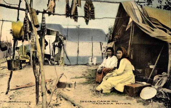 Athabascan Couple Near The Tanana River In Alaska
