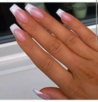 french with high smile line and coffin shape | All Nails ...
