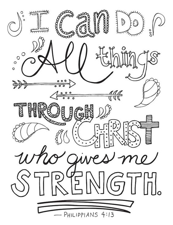 Bible Verse Coloring Page // Philippians 4:13 // Printable