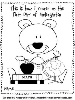 First day of school, Coloring and Kindergarten coloring