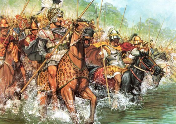 Alexander and the Macedonian Companion Cavalry cross the River Granicus to confront Persian cavalry: