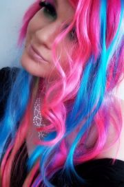 scene girl with pink and blue hair