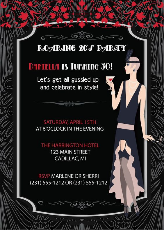 Roaring 20's Flapper Girl Retro Invitation Adult
