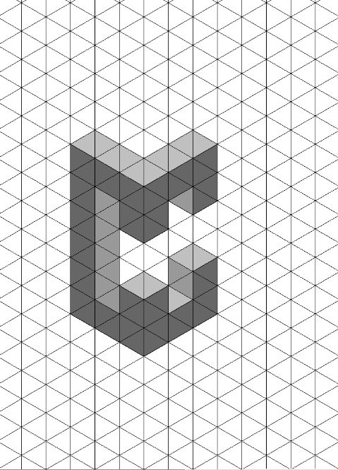 Letter c 3D shadow test isometric paper. Much like the