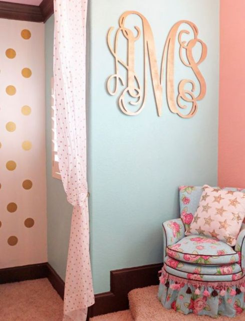 Gold Monogram - perfect accent in a little girl's room!: