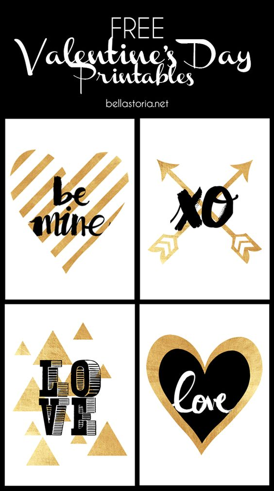 Free Glamorous Valentine's Day Art Printables in Pretty Gold Foil and Black via Bella Storia