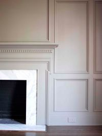 FIREPLACE Mantel surrounded by panel walls #millwork