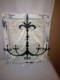 Metal Chandelier Wall Art in White Black and a little Blue ...