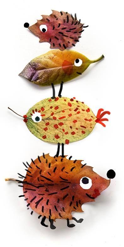 une petite promenade pour récolter de belles feuilles d'automne, peinture ou posca, 1 feuille de canson, un peu de colle (type scotch)... et voilà de qui joliment occuper une belle après-midi! Vous pouvez trouver des yeux rigolos à coller ici : http://www.rentreediscount.com/Activites-manuelles,57722.html: