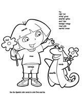 Dora the Explorer Spanish/English color words coloring