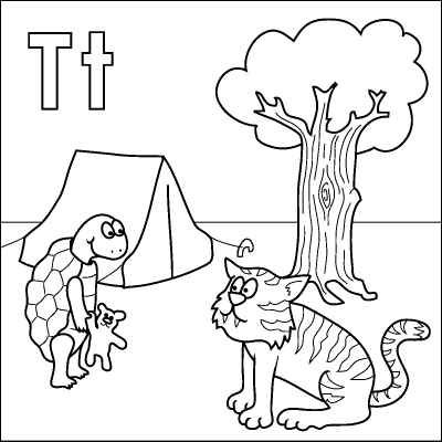 Letter T coloring page (Tortoise, Tiger, Teddy, Tent, Tree
