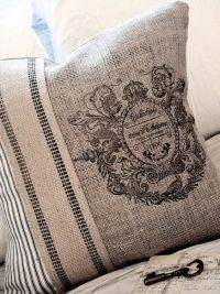Burlap Pillow Cover with French ticking | Want it in my ...