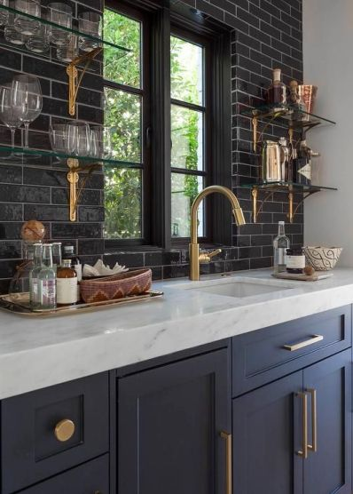 Dark blue kitchen cabinet color