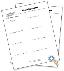 Mixed Problem Types Solving Multi-Step Equations