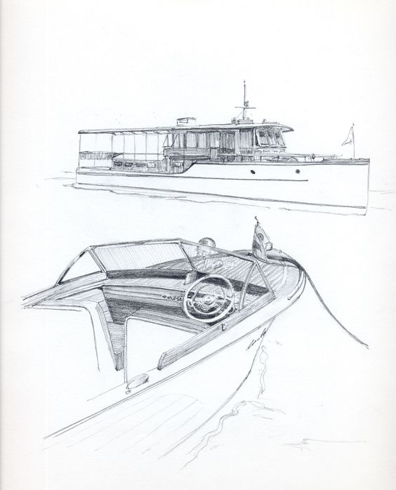 Antique boat show Chris Craft runabout, Pencil drawing of