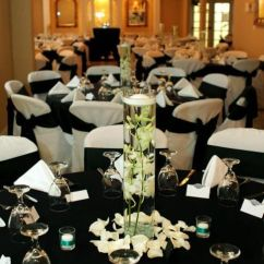 Christmas Chair Covers Pinterest Target Bungee Black Tablecloths And White Draped Chairs With Bows Linens | Wedding Reception ...