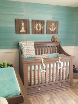 Coastal Inspired Nursery - the grasscloth together with the wainscotting look great, as well as all other design elements here!: