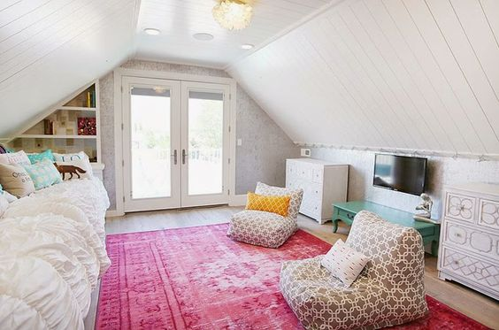 Teen Attic Bedroom  Four Chairs Furniture  Beautiful