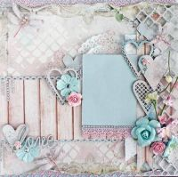 Premade 12 x12 Shabby Chic Scrapbook Layout, Blue Fern