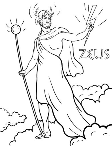 Printable Zeus coloring page. Free PDF download at http