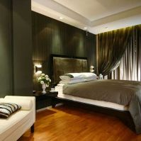 Contemporary-bedroom-with-wood-floor-gray-bed-cover-and ...