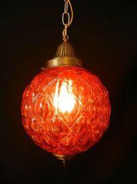 Unique Vtg MID CENTURY MODERN ORANGE GLASS SWAG LAMP RETRO ...