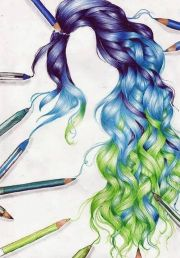 drawing of purple blue and green