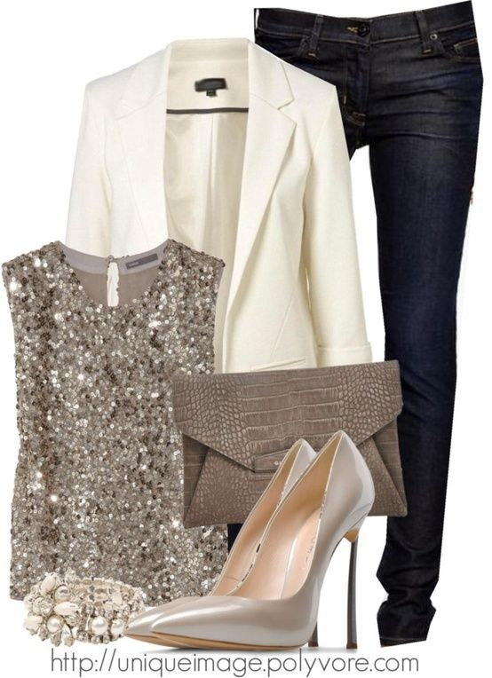 Holiday Wear! White Blazer & Some Sparkle! Perfect For A New