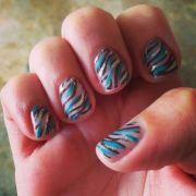 black teal & silver zebra gelish