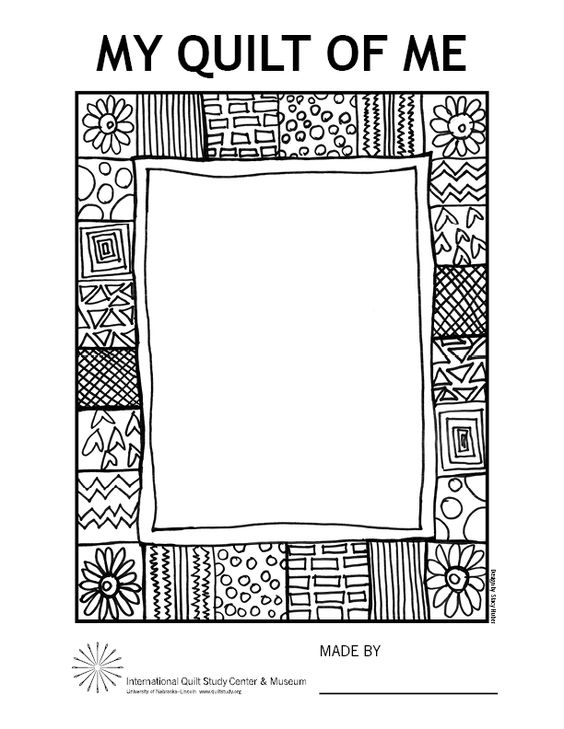 Print this Faith Ringgold-inspired quilt frame and add