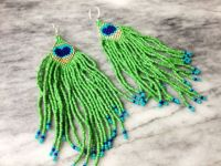 Peacock Feather Beaded Earrings | BEAD-nat amer 1 ...