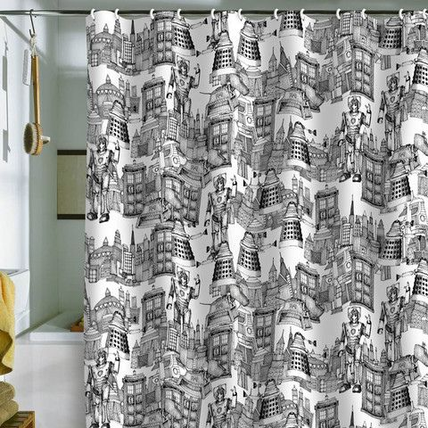 DENY Designs Walking Doodle Toile de Jouy Shower Curtain  Showers Doctor who and Dr who
