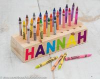 Wooden Crayon holder wood block with holes personalized ...