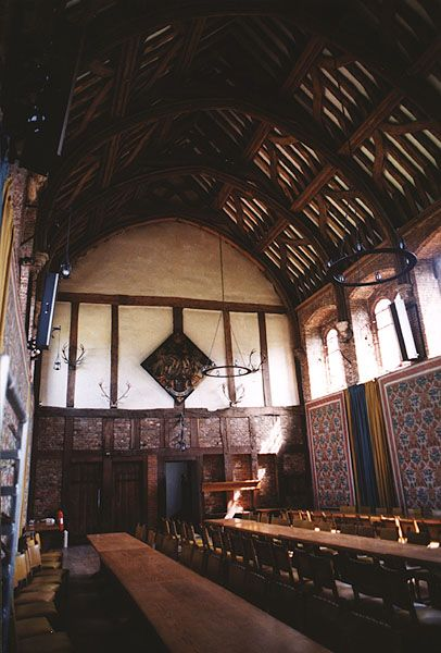 The great hall at Hatfield House, childhood home of Elizabeth Tudor.: