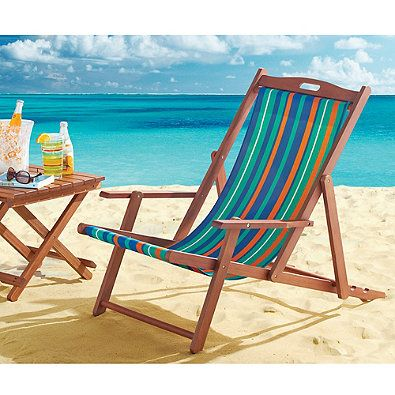 Resort Striped Folding Wood Beach Chair Whether at the
