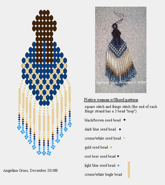 Native woman with Shawl beaded earring pattern + finished