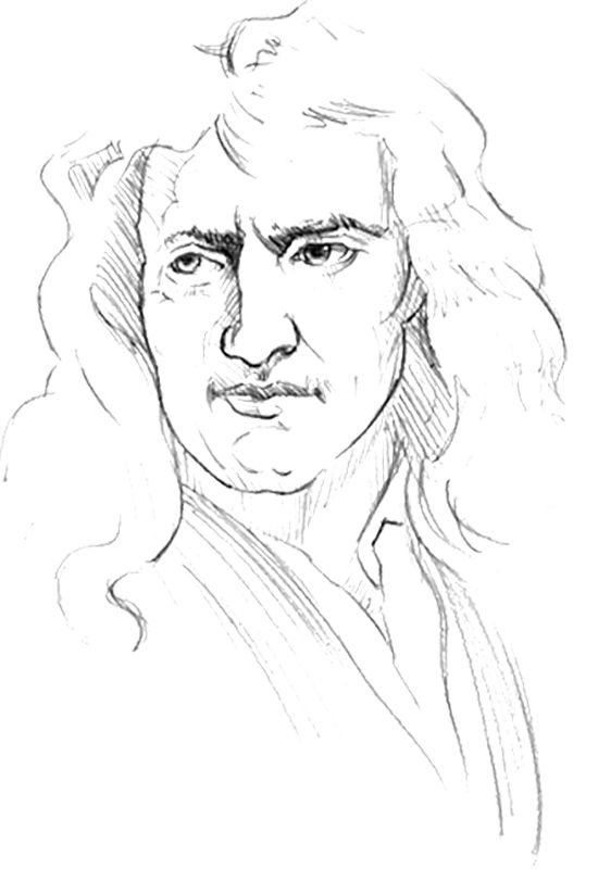Isaac newton, Sketches and Coloring pages on Pinterest