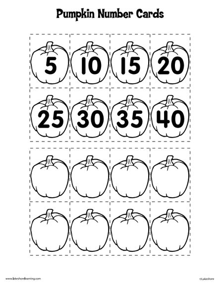 Here's a set of pumpkin numbers and a number line for skip
