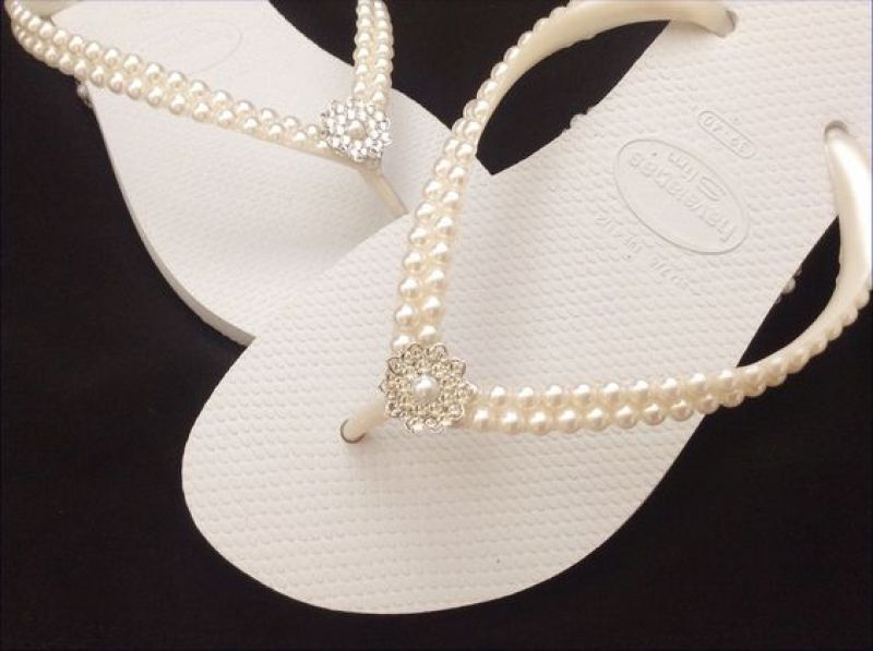 Havaianas Pearls Rock Slim Bridal Pure White by GlassSlippersCC