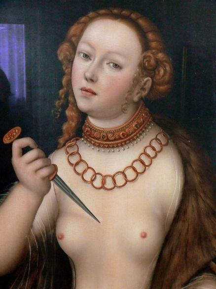 Detail, 'The Suicide of Lucretia' (1538) by Lucas Cranach the Elder (1472-1553). Oil on panel. collection Bamberg Neue Residenz. via Andreas Helke on flickr: