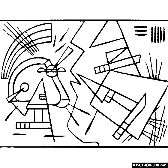 100% free coloring page of Wassily Kandinsky painting